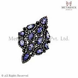 Tanzanite Gemstone Diamond Filigree Ring