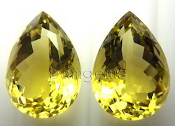 Lemon Quartz Faceted Pear Pair Gemstone