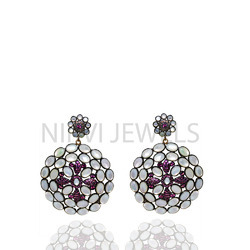 Rhodolite  & MOP Earrings