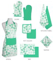 Green Choice Pattern Design Kitchen Linen Set