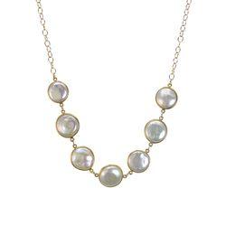Pearl Bezel Set Necklace