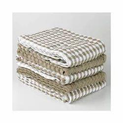 B&B Brown, White Terry Kitchen Towels