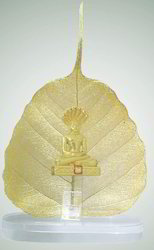 Parshwanath Gold Plated Statue On Peepal Leaves