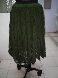 Military Green Crochet Skirts