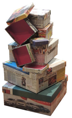 Recycled Newspaper Storage Boxes
