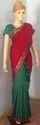 Bagalpuri Silk Green & Red Saree With Border