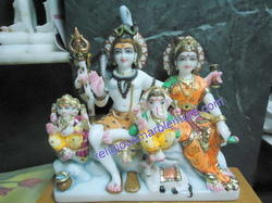 White Marble Shiva with Family