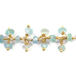 Apatite Gemstone Sterling Silver Cluster Chain Gold Plated