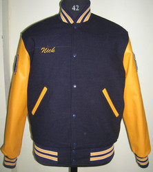 Navy Body With Bright Gold Sleeve Varsity Jacket