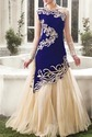 Offwhite And Royal Blue Gown