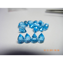 Bullet Shape Swiss Blue Topaz Gemstone