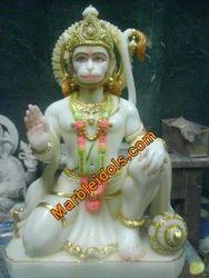 White Stone Hanuman Marble Statue