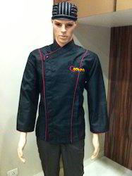 Black Chef Coat with Red Piping - CC-20