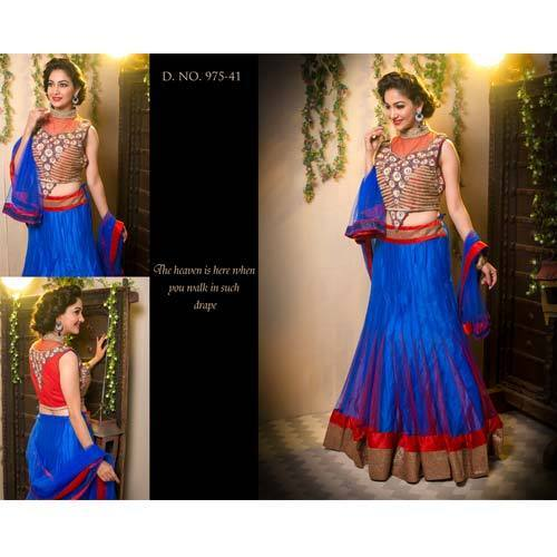 Royal Blue And Red Color Designer Gown H M Bridal Lehenga New