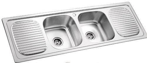 Double Bowl Sink With Drain Board 304 Grade
