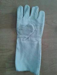 Plain Light Blue Hand Safety Leather Gloves, Size: Free Size