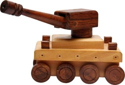 Light And Dark Brown Wooden Tank Toy, for kids