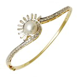 Pearl Diamond Half Bangle