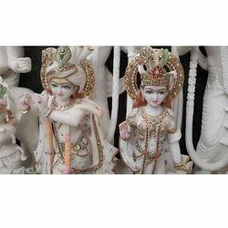 Radha Krishna In White Stone
