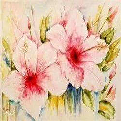 hibiscus watercolor painting at rs 8000 piece paani ke rang wali