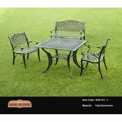 vintage cast aluminum garden chair set