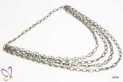 Alloy Metal Silver Multi Strand Chain Necklace