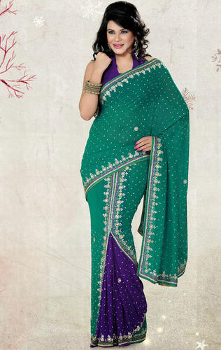 e185908d1cb94 Rama Green and Purple Color Faux Georgette Saree with Blouse - Saree ...