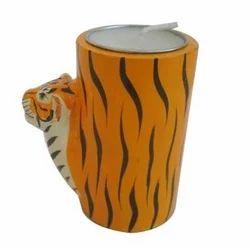 Wooden Tiger Face Tea Light Holder