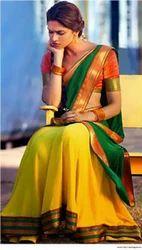 Yellow And Green Designer Saree
