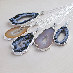 Silver Electroplated Agate Slice Necklace
