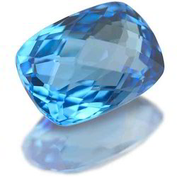 Natural Blue Color Gemstone In Cushion Cut