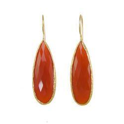 Carnelian Pear Shape Bezel Gemstone Earrings