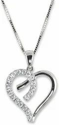 White Gold Plated Diamond Silver Pendant