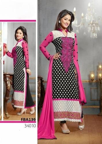 Hina Khan Latest Black And Pink Designer Suit Fab Boom Surat Id