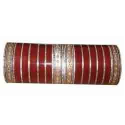 Silver Maroon Bridal Chura