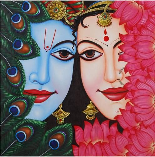 Half Face Of Radha Krishna Painting