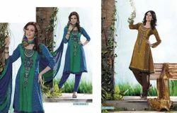 Chanderi A-line Stylish Cotton Suit, Machine wash