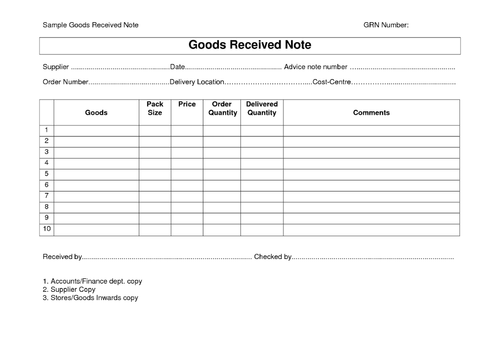 Material Receipt Notes - View Specifications & Details of