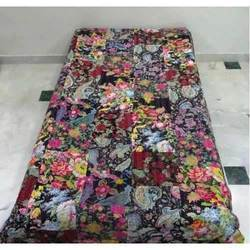 Kantha Quilt Black Patch Theme Twin Throw Bed Cover