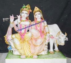 Radha Krishna Marble Statue And Cow