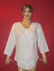 White V Neck Cotton Top