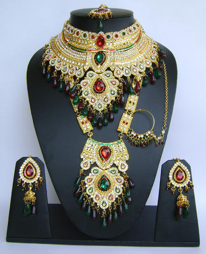 be44c7670da1 Red Green Color Wedding Bridal Jewelry Sets WJ-34 at Rs 3600  piece ...
