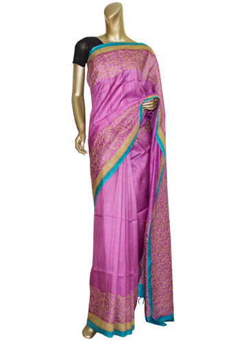 Light Pink Colour Tussar Silk Saree