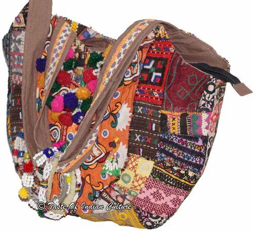 6a61587317 Vintage Embroidered Banjara Shoulder Bag Hobo Tote Purse Tri ...
