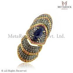 14k Gold Pave Setting Diamond Gemstone Rings
