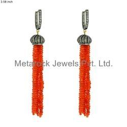 Coral Gemstone Diamond Tassels Earrings