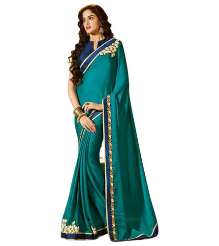 de7bd698b57fb0 Oceanic Blue Saree With Rich Blouse And Embroidery - Naksh Creation ...