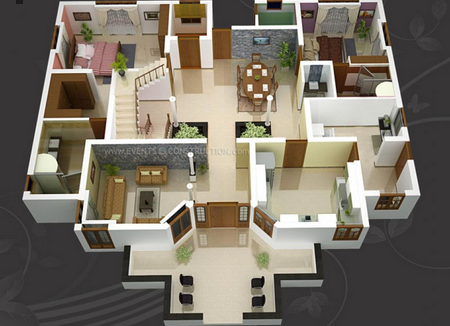 Attractive 3D Floor Plan Design