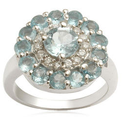 Blue Topaz Silver Floral Ring