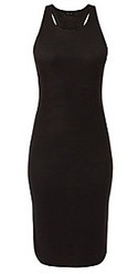 Black Ribbed Racer Back Midi Dress